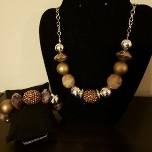 Jewelry - Silver & brown beaded set